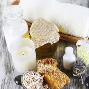 Candles, herbs and soap for relaxing day