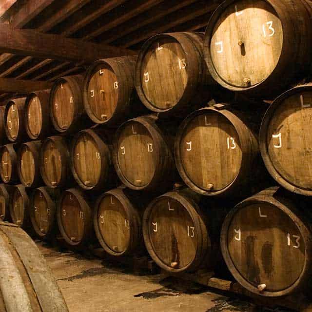 Barrels of wines in a cellar