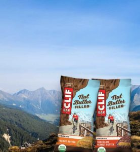 Two Clif Bars shown with Mountains Image