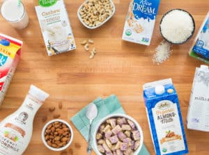 group of alternative milks and nuts