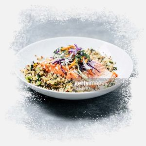 Bowl of Ancient Grains with veggies and salmon