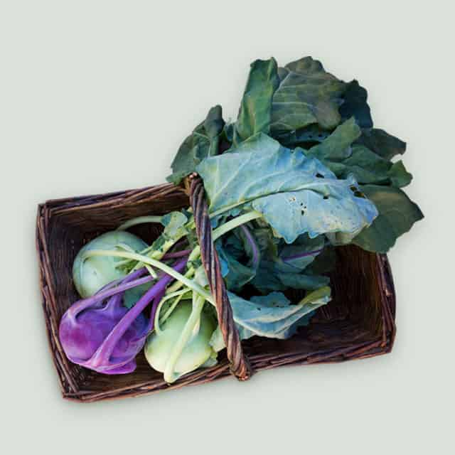 Kohlrabi in Basket
