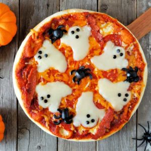 Pizza with ghost shapes