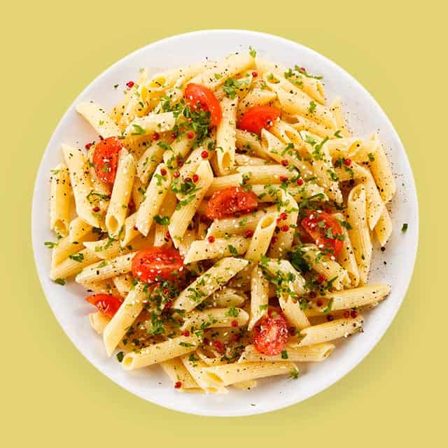 Bowl of pasta with tomatoes
