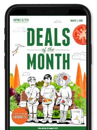 Phone with Deals of the month on the screen