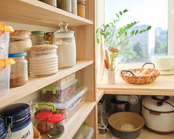 Pantry with shelves with ingredients