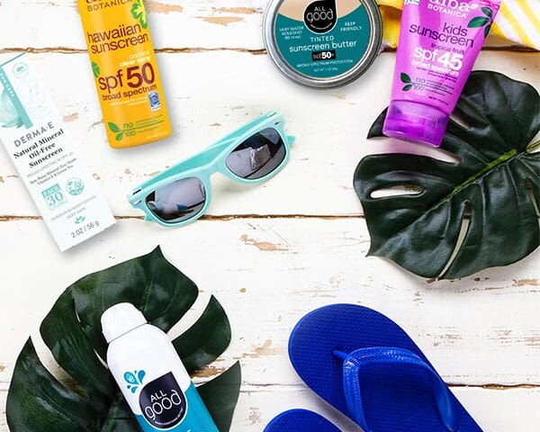 Sunscreen and beach items