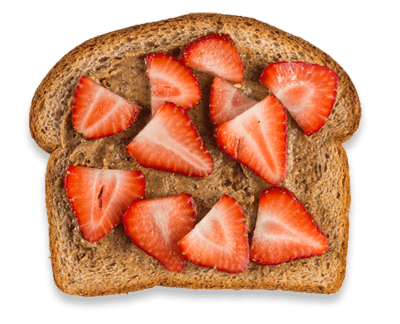 Almond Butter Sliced Almonds, Sliced Strawberries toast