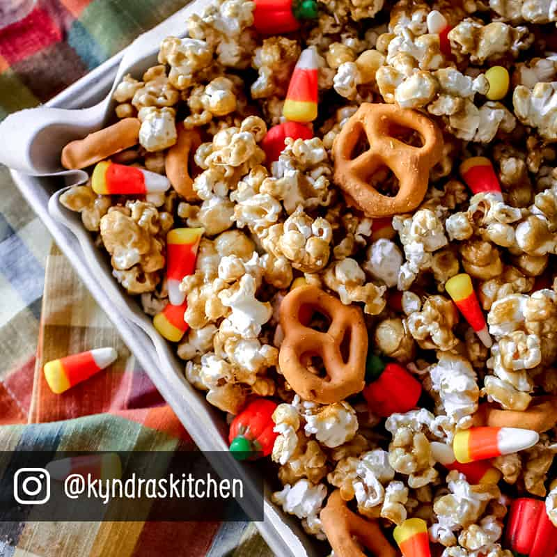popcorn mixed with pretzels and candy corn
