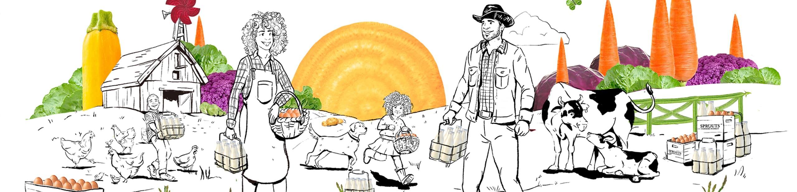 Dairy Scene Illustration