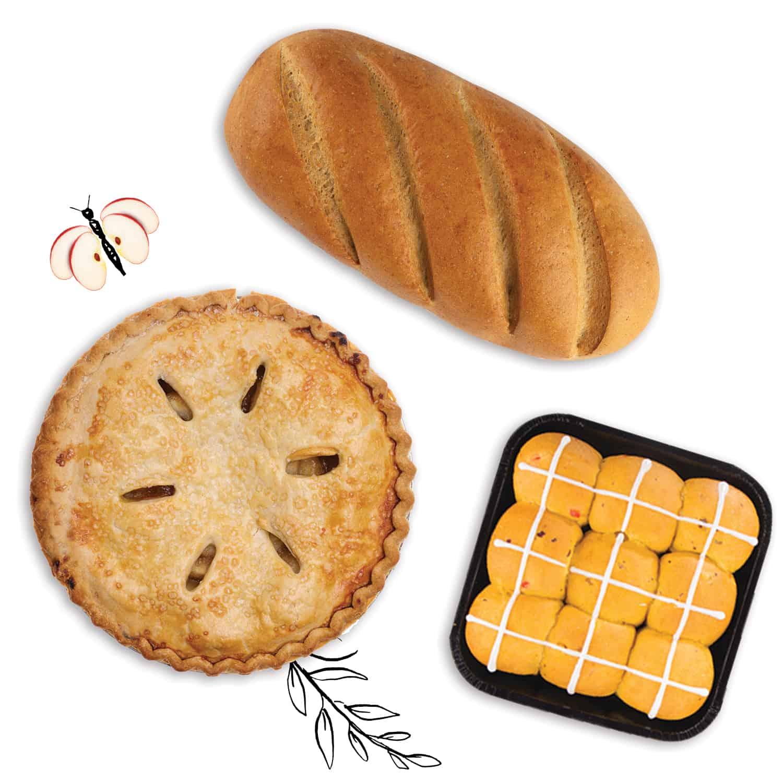 Artisan bread, apple pie and hot cross buns