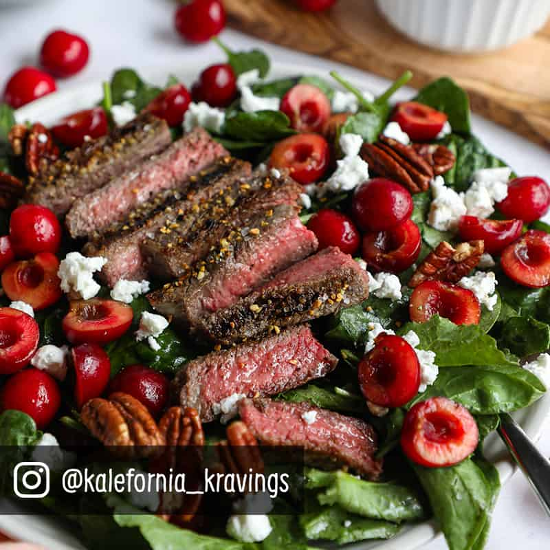 Grilled Steak Salad with Cherries & Balsamic Dressing