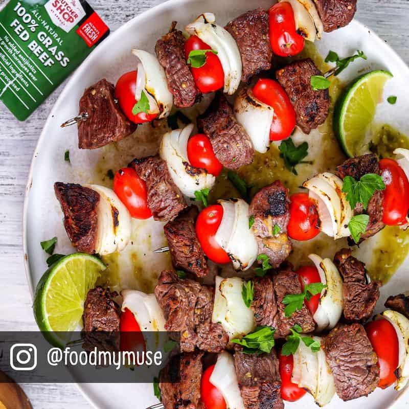 Salsa Verde Steak, Vidalia Onions and Tomato Skewers