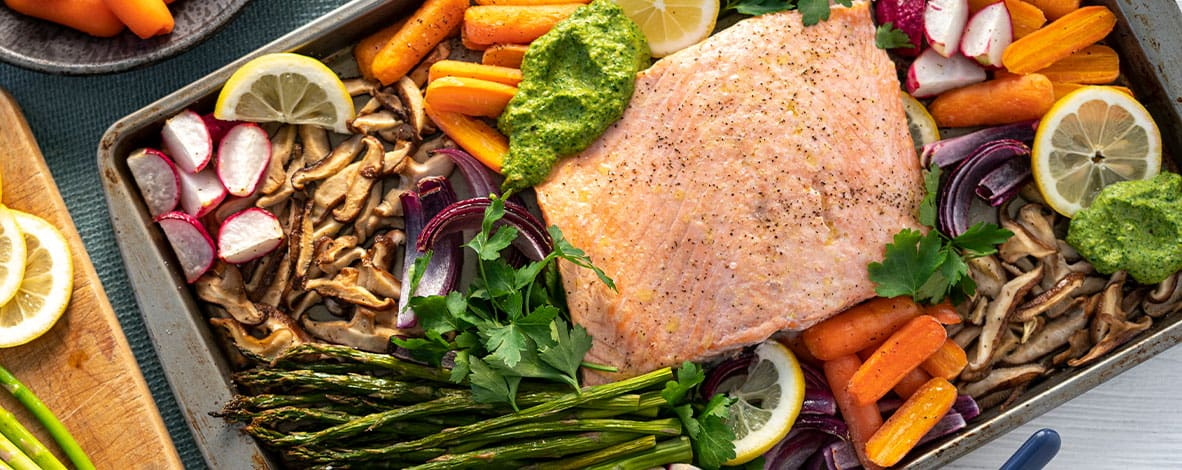 Sheet Salmon with vegetables