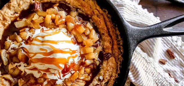 Salted caramel cookie in a skillet